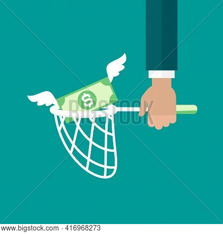 Businessman Hand Holds Butterfly Net With Dollar Banknote. Catch, Hunt, Chase Money Symbol. Achieve