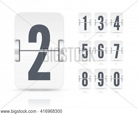 Vector Template With White Flip Scoreboard Numbers And Reflections For White Countdown Timer Or Cale