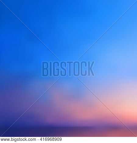 Abstract Background, Vector Sunset Or Sunrise Over The Sea. Smooth Gradient Transition From Bright B