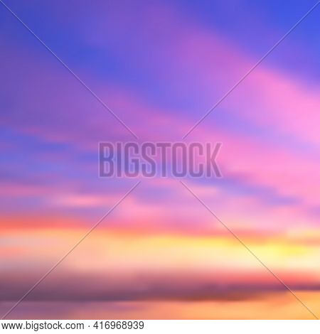 Beautiful Abstract Vector Background Of Sunset Or Sunrise Over The Sea. Blurry Haze Of Stripes Of Pi