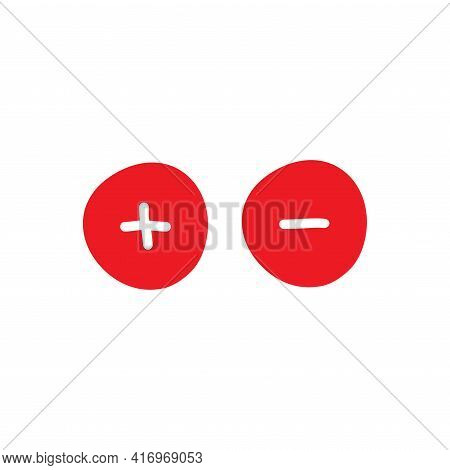 Plus And Minus Hand Drawn Signs. Red Thin Flat Vector Icons Isolated On White. Add Or Plus Purchase