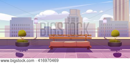 Rooftop Terrace With Bench On City View Background. Empty Patio On Skyscraper Roof Or Balcony With R