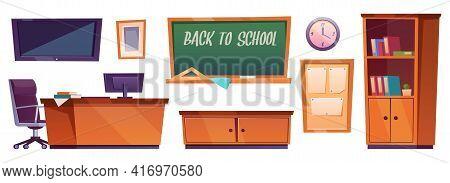 Classroom Furniture, Class Interior Stuff Blackboard With Inscription Back To School, Cupboard With