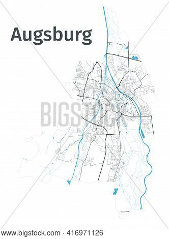 Augsburg Map. Detailed Map Of Augsburg City Administrative Area. Cityscape Panorama. Royalty Free Ve