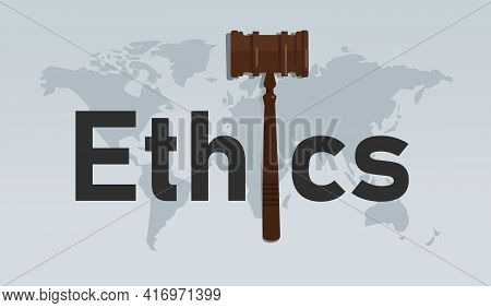 Ethics And Law Symbol Of Ethical Moral In Decision Making Hammer Symbol