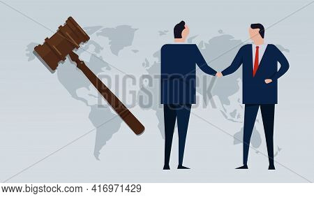 Transactional Law Partnership Agreement Businessman Handshake With Hammer And Map