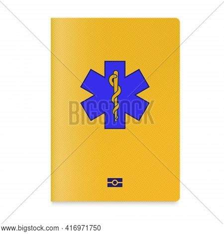 Vaccine Passport Holder Case With A Star Of Life On Cover And Biometric Technology Sign.