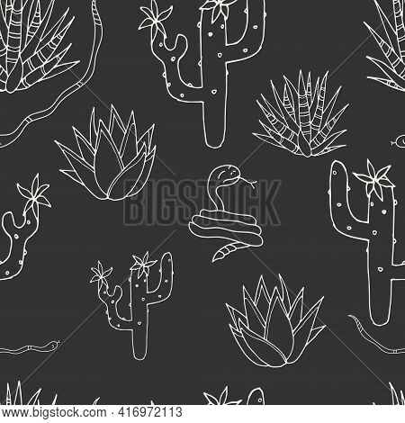 Seamless Pattern. Cacti And Snake. Vector. Graphite.