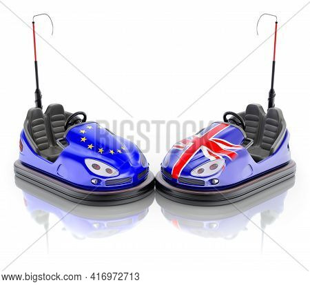 Eu Versus Gb Business Concept With Bumper Cars And Flags - 3d Illustration