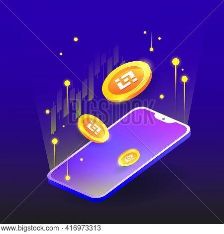 Concept Of Binance, Exchange Platform Crypto, Token With Phone Vector On Dark Background