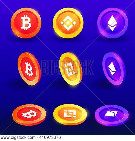 Cryptocurrency,bitcoin, Binance And Ethereum Token 3d,isometric Concept Vector On Back Background