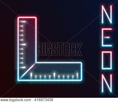 Glowing Neon Line Corner Ruler Icon Isolated On Black Background. Setsquare, Angle Ruler, Carpentry,