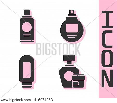 Set Cream Or Lotion Cosmetic Tube, Bottle Of Shampoo, Cream Or Lotion Cosmetic Tube And Perfume Icon