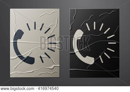 White Food Ordering Icon Isolated On Crumpled Paper Background. Order By Mobile Phone. Restaurant Fo