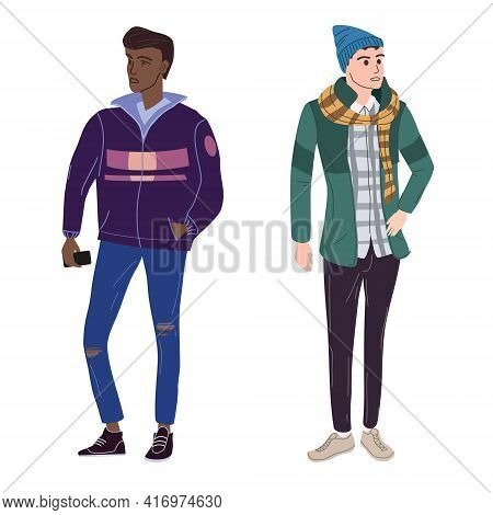 Couple Young Mans Students In Modern Spring Trendy Clothes. Fashion Casual Outerwear Street Style Ch