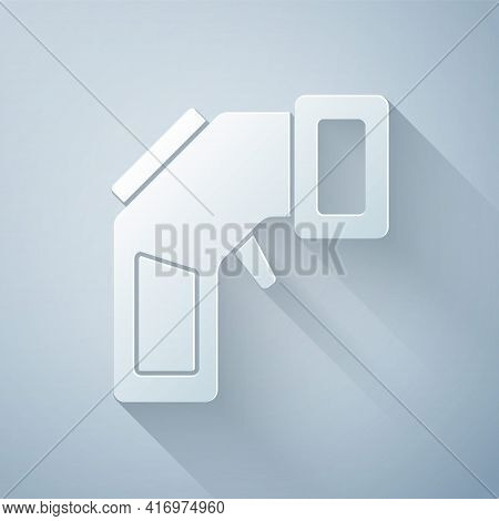 Paper Cut Digital Contactless Thermometer With Infrared Light Icon Isolated On Grey Background. Pape