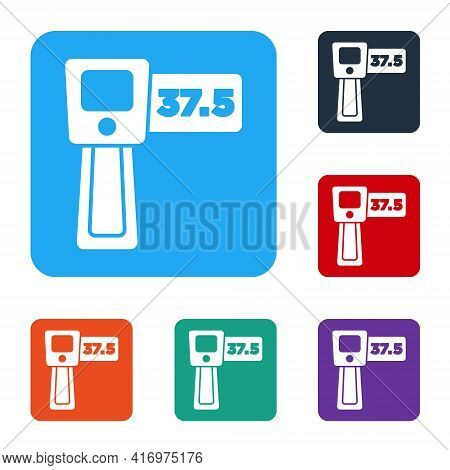 White Digital Contactless Thermometer With Infrared Light Icon Isolated On White Background. Set Ico