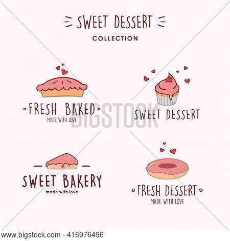Bakery And Dessert Logo, Sweet Bakery Logo, Simple Bakery Logo Set, Bakery Logo Collection Vector Te