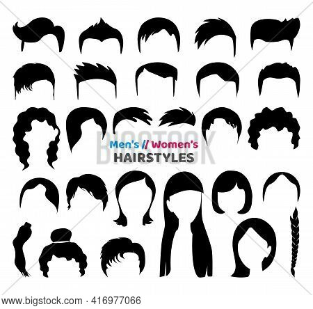 Big Black Hair Silhouettes Collection Of Fashionable Haircuts Or Hairstyles For Mens Or Girls, Isola