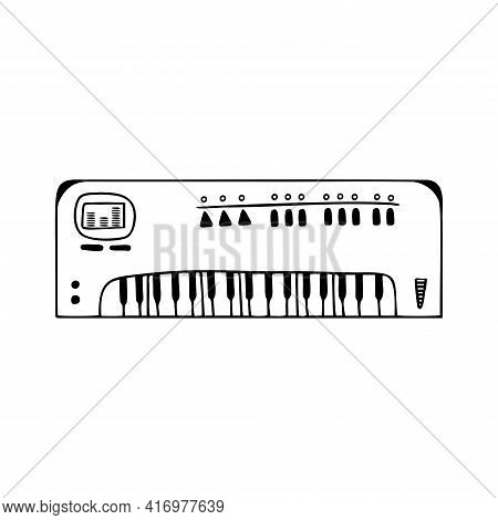 Hand Drawn Synthesizer, Musical Instruments Isolated On A White Background. Celebration Elements. Do