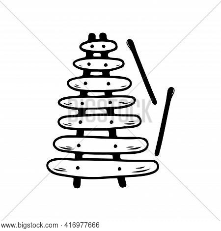 Hand Drawn Xylophone, Musical Instruments Isolated On A White Background. Celebration Elements. Dood