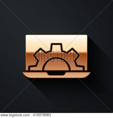 Gold Software, Web Development, Programming Concept Icon Isolated On Black Background. Programming L
