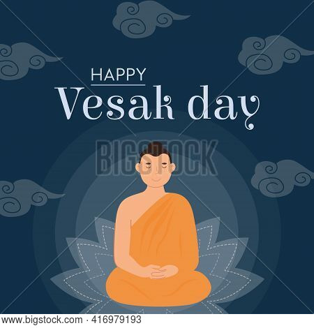 Happy Vesak Day Vector Card. Lord Buddha Sitting On Lotus Seat With Rays Of Light. Translation From
