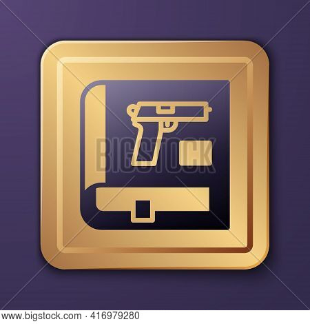 Purple Book With Pistol Or Gun Icon Isolated On Purple Background. Police Or Military Handgun. Small