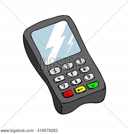 Pos-terminal For Businesses. Payment For Goods Or Services. Vector Illustration Isolated On A White
