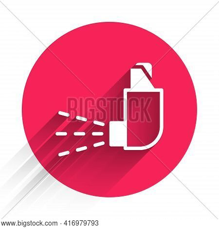 White Inhaler Icon Isolated With Long Shadow. Breather For Cough Relief, Inhalation, Allergic Patien