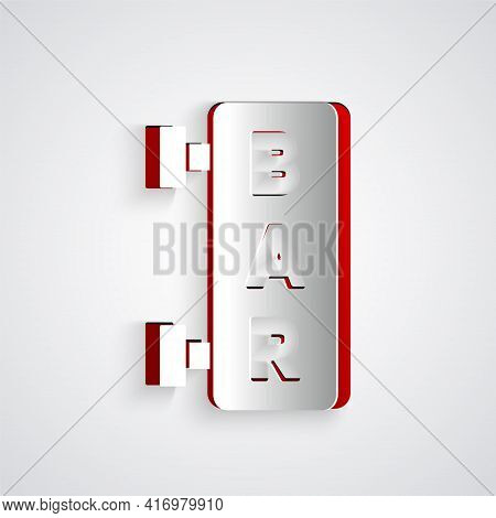 Paper Cut Street Signboard With Inscription Bar Icon Isolated On Grey Background. Suitable For Adver