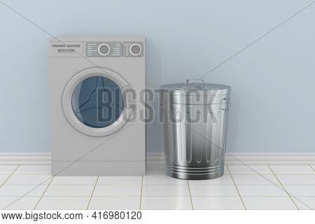 washing machine in bathroom. 3d illustration