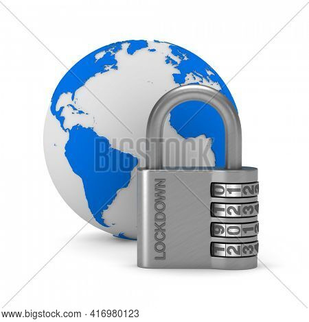 Metallic padlock with text lockdown on white background. isolated 3d illustration