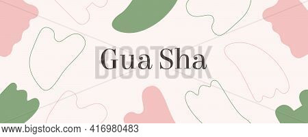 Web Banner Rose Quartz Gua Sha And Jade. Scraping Massage Tool. Natural Pink And Green Stone Scraper