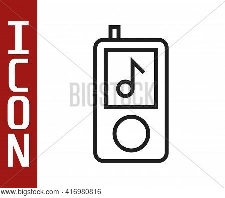Black Line Music Player Icon Isolated On White Background. Portable Music Device. Vector Illustratio