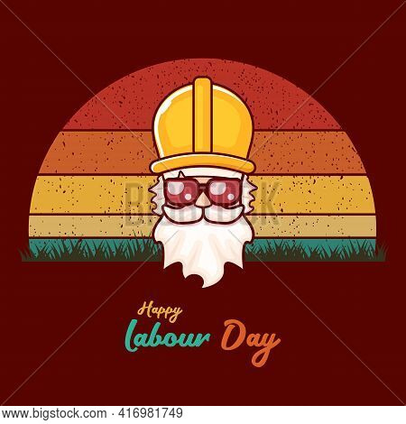 Happy Labour Day Vector Label With Funky Worker On Vintage Background. Vector Happy Labor Day Backgr