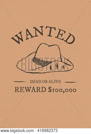 Vintage wanted poster cowboy theme with text