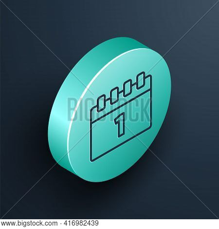 Isometric Line Calendar With First September Date Icon Isolated On Black Background. September 1. Da