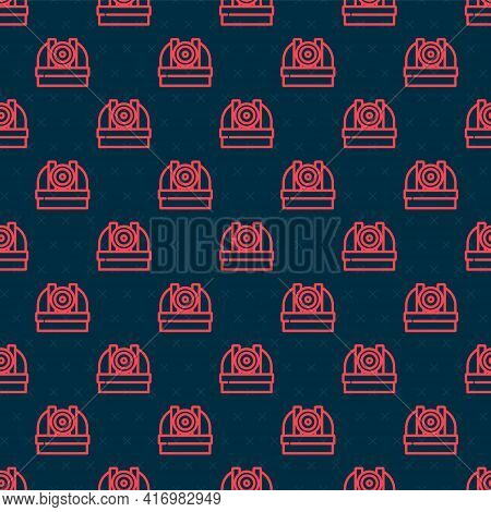 Red Line Astronomical Observatory Icon Isolated Seamless Pattern On Black Background. Observatory Wi