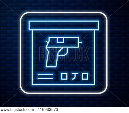 Glowing Neon Line Military Ammunition Box With Some Ammo Bullets Icon Isolated On Brick Wall Backgro