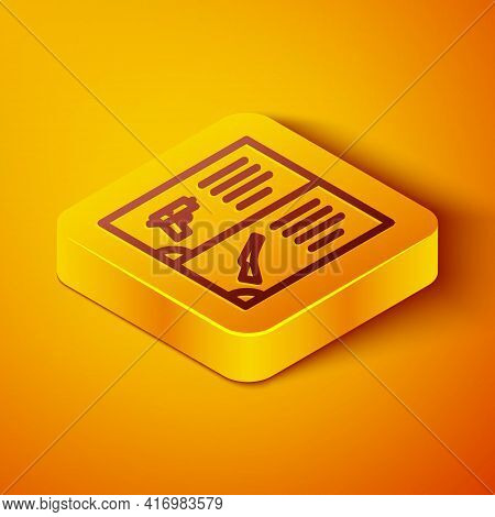 Isometric Line Weapon Catalog Icon Isolated On Orange Background. Police Or Military Handgun. Small