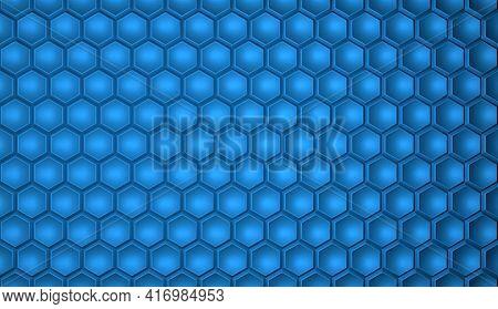 Textured Geometric Hexagonal Background In Blue Color. Hexagonal Cells. 3d Rendering Illustration