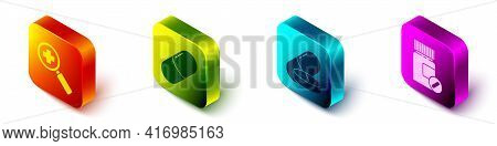 Set Isometric Magnifying Glass For Search Medical, Medicine Pill Or Tablet, Medicine Pill Or Tablet