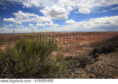 Arizona / Usa - August 01, 2015: Painted Desert National Park Landscape, Arizona, Usa