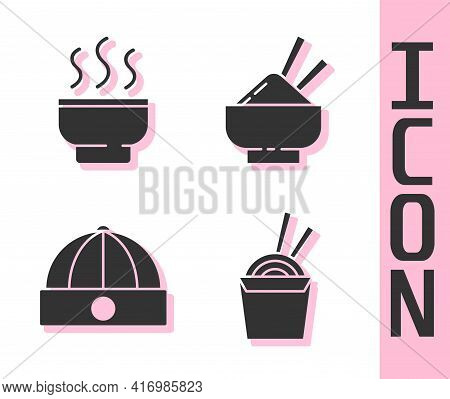 Set Asian Noodles In Paper Box And Chopsticks, Chinese Tea Ceremony, Chinese Hat And Rice In A Bowl