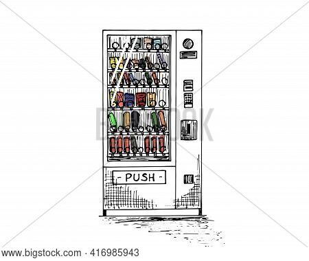 Vending Machine With Colored Beverage Bottles And Cans Hand Drawn Sketch. Automatic Snack And Drink