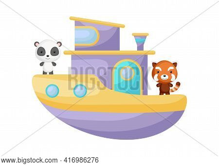 Cute Little Panda And Red Panda Sailing On Violet Ship. Cartoon Character For Childrens Book, Album,