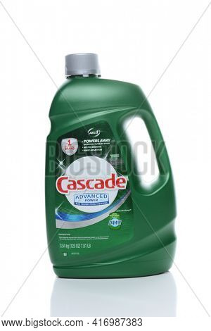 IRVINE, CA - FEBRUARY 19, 2015: A bottle of Cascade Dishwasher Detergent. Made by Proctor and Gamble, Cascade is the number one brand in North America.