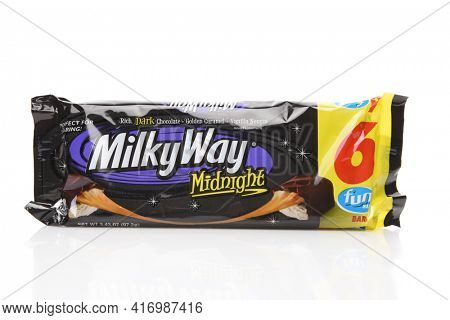 IRVINE, CALIFORNIA - AUGUST 14, 2019: A package of Fun Size Milky Way Midnight candy bars.