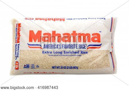 IRVINE, CALIFORNIA - MAY 22, 2019:  A 2 pound package of Mahatma Extra Long Enriched Rice.